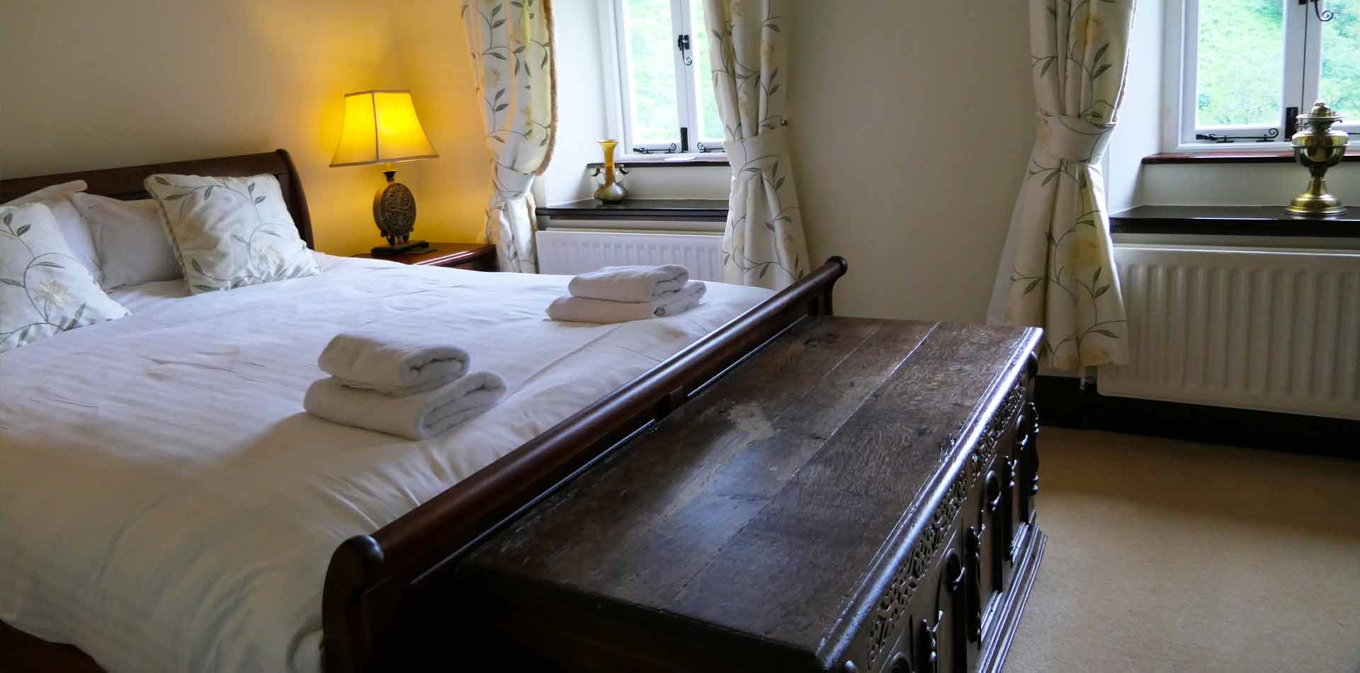 All the beautiful bedrooms look out over the extensive grounds with views of the stunning Yorkshire Fells. Below the farmhouse the River Dee flows by.